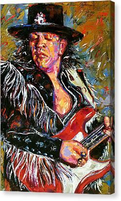 Stevie Ray Red Guitar Canvas Print by Debra Hurd