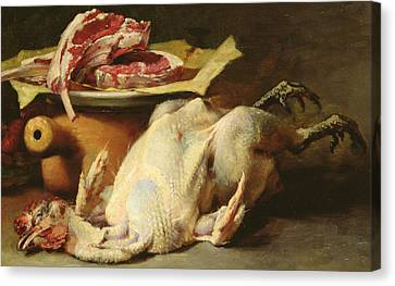 Still Life Of A Chicken And Cutlets Canvas Print by Guillaume Romain Fouace