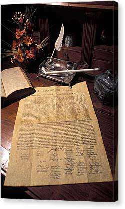 Still Life Of A Copy Of The Declaration Canvas Print by Richard Nowitz