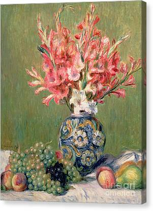 Still Life Of Fruits And Flowers Canvas Print by Pierre Auguste Renoir