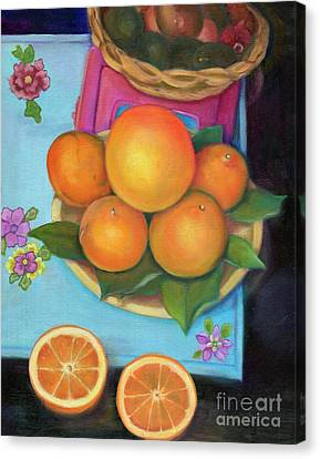 Still Life Oranges And Grapefruit Canvas Print by Marlene Book