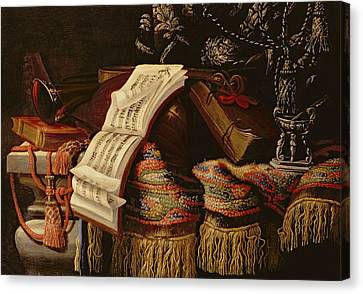 Still Life With A Book Of Sheet Music Canvas Print by Francesco Fieravino