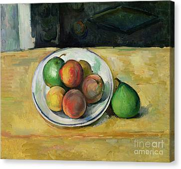 Still Life With A Peach And Two Green Pears Canvas Print by Paul Cezanne