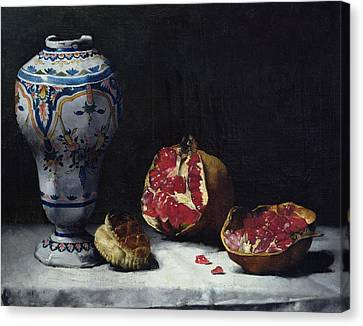 Still Life With A Pomegranate Canvas Print by Auguste Theodule Ribot