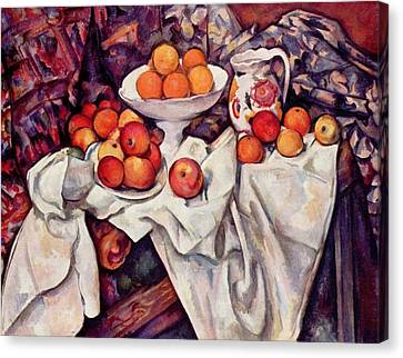Still Life With Apples And Oranges Canvas Print by Paul Cezanne