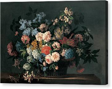 Still Life With Basket Of Flowers Canvas Print by Jean-Baptiste Monnoyer
