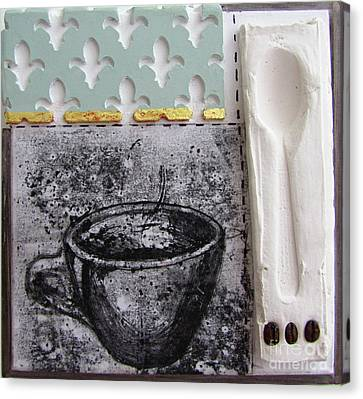 Still Life With Coffee Cup Beans And Spoon Canvas Print by Peter Allan