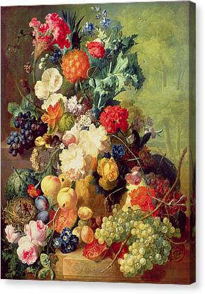 Still Life With Flowers And Fruit Canvas Print by Jan van Os