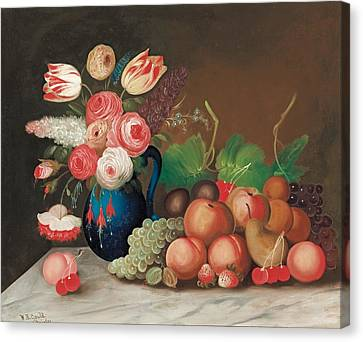 Still Life With Fruit And Flowers Canvas Print by William Buelow Gould