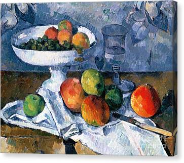 Still Life With Fruit Dish Canvas Print by Paul Cezanne