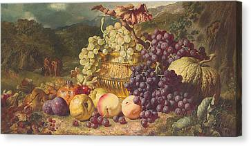 Still Life With Fruit In A Landscape Canvas Print by George Lance