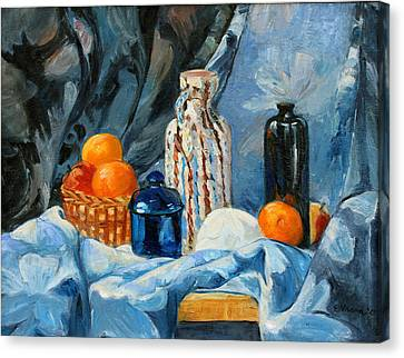 Still Life With Jugs And Oranges Canvas Print by Ethel Vrana