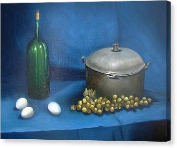 Still Life With Kettle Grapes And Wine Canvas Print by Stephen  Hanson