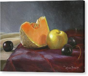 Still Life With Melon And Plumcot Canvas Print by Anna Rose Bain