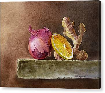 Still Life With Onion Lemon And Ginger Canvas Print by Irina Sztukowski