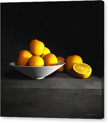 Still Life With Oranges Canvas Print by Cynthia Decker