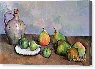Still Life With Pitcher And Fruit Canvas Print by Paul Cezanne