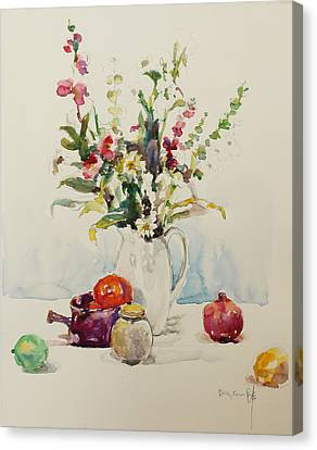 Still Life With Pomegranate Canvas Print by Becky Kim