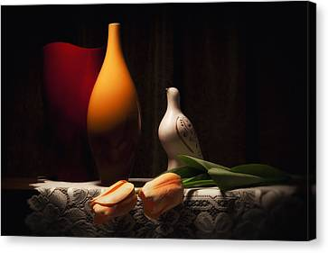 Still Life With Vases And Tulips Canvas Print by Tom Mc Nemar