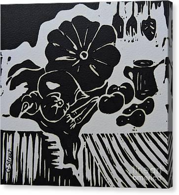 Still-life With Veg And Utensils Black On White Canvas Print by Caroline Street
