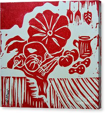 Still Life With Veg And Utensils Red On White Canvas Print by Caroline Street