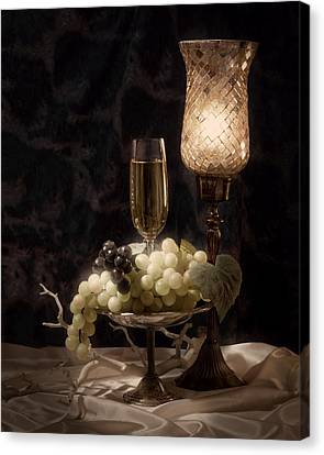 Still Life With Wine And Grapes Canvas Print by Tom Mc Nemar