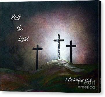 Still The Light Scripture Painting Canvas Print by Eloise Schneider