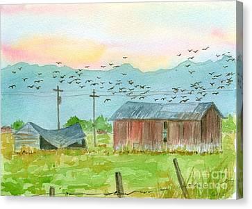 Stillwater Birds At Sunrise Canvas Print by Cathie Richardson