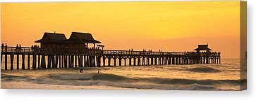 Stilt Houses On The Pier, Gulf Canvas Print by Panoramic Images