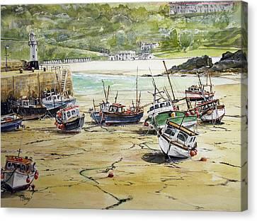 St.ives Harbour Low Tide Cornwall Canvas Print by Keran Sunaski Gilmore