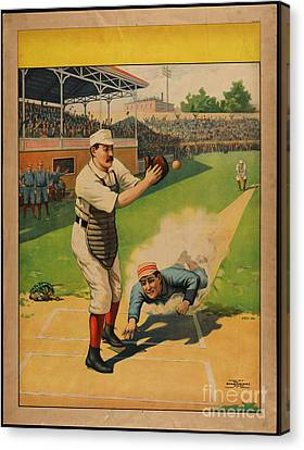 Stock Poster Showing Runner Sliding Past Catcher Canvas Print by Celestial Images