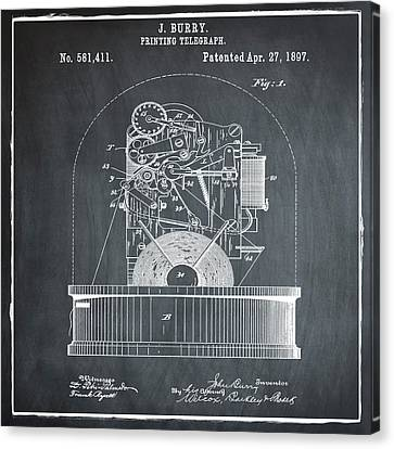 Stock Ticker Patent 1897 Chalk Canvas Print by Digital Reproductions