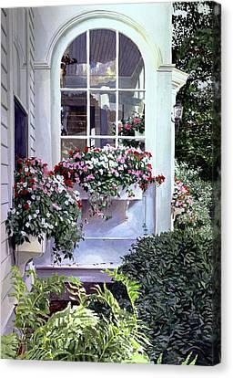Stockbridge Window Boxes Canvas Print by David Lloyd Glover