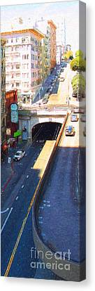 Stockton Street Tunnel In Heavy Shadow . Long Version Canvas Print by Wingsdomain Art and Photography