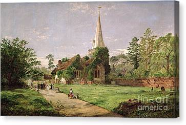 Stoke Poges Church Canvas Print by Jasper Francis Cropsey