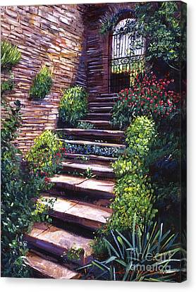 Stone Steps Tuscany Canvas Print by David Lloyd Glover