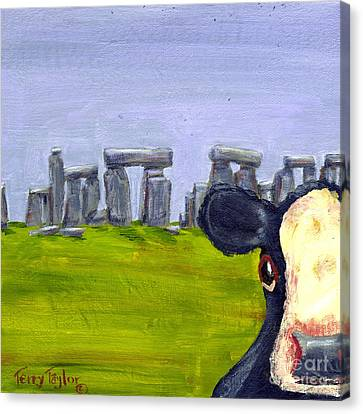 Stonehenge Cow Canvas Print by Terry Taylor
