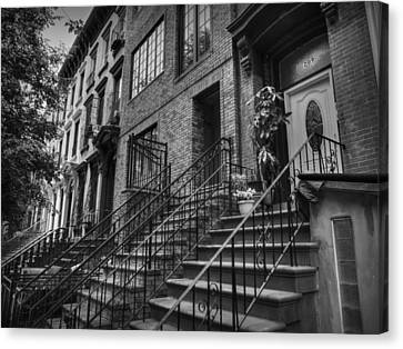 Stoops Of Brooklyn 001 Bw Canvas Print by Lance Vaughn