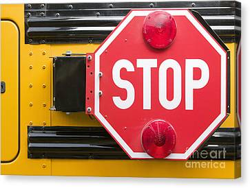 Stop Sign On School Bus Canvas Print by Andersen Ross