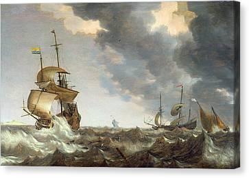 Storm At Sea Canvas Print by Bonaventura Peeters