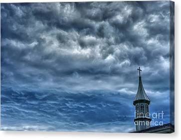 Storm Clouds Over Church Canvas Print by Thomas R Fletcher