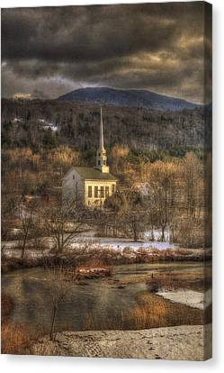 Storm Clouds Over White Church - Stowe Vermont Canvas Print by Joann Vitali