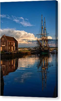 Storm Leaves Reflection On Salem Canvas Print by Jeff Folger
