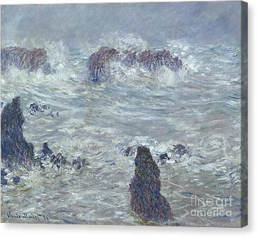 Storm Off The Coast Of Belle Ile Canvas Print by Claude Monet