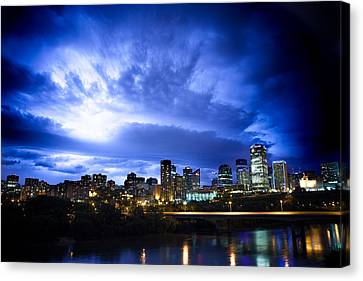 Stormy Skys Over Edmonton Canvas Print by Ian MacDonald