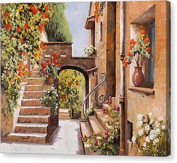 stradina di Cagnes Canvas Print by Guido Borelli