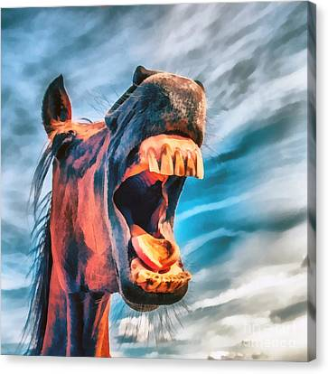 Straight From The Horses Mouth Canvas Print by Edward Fielding