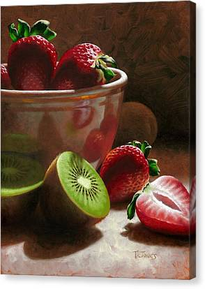 Strawberries And Kiwis Canvas Print by Timothy Jones