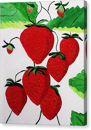 Canvas Print featuring the painting Strawberries by Rodney Campbell