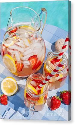 Strawberry Lemonade At Pool Side Canvas Print by Elena Elisseeva